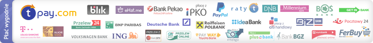 Umożliwiamy szybkie płatności internetowe zapomocą serwisu Transferuj.pl, dowyboru jest aż 40 banków ipłatności kartami VISA/MASTERCARD